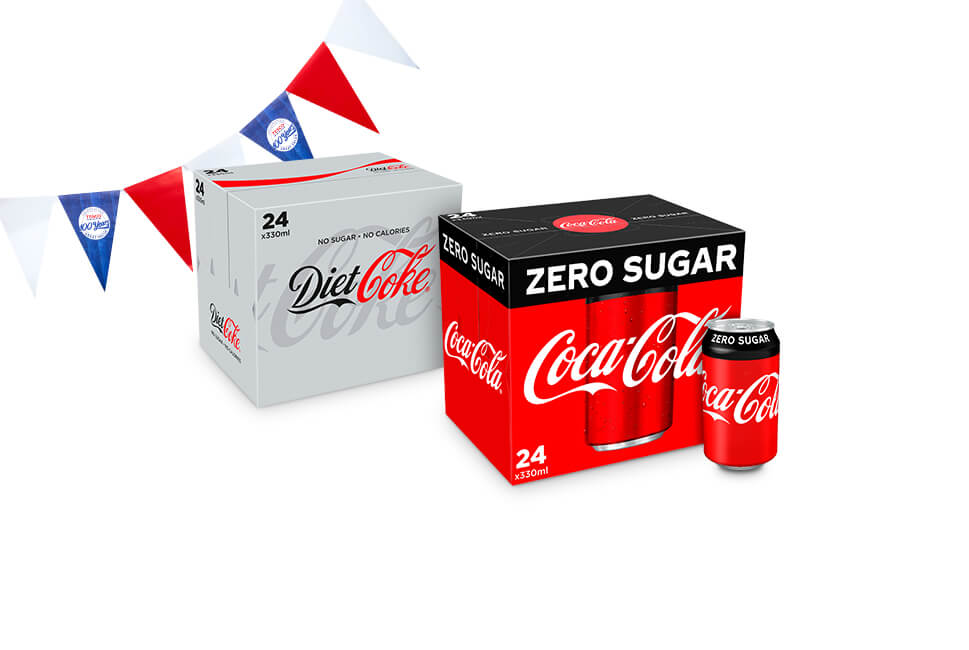 Diet Coke and Coca-Cola Zero Sugar 24 packs just £5.50