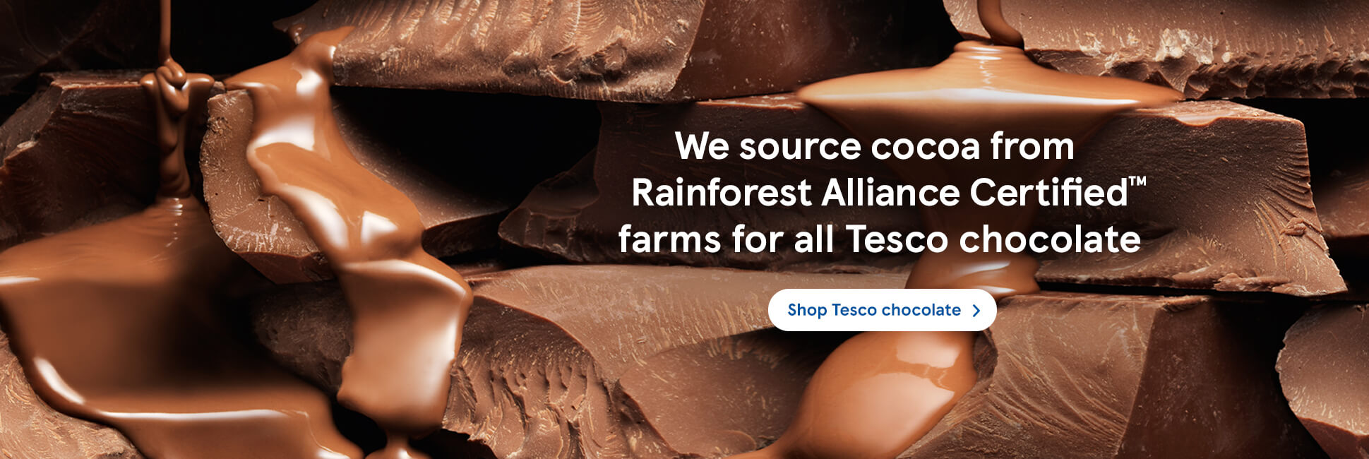 We source cocoa from Rainforest Alliance Certified farms for all Tesco chocolate. Shop Tesco chocolate