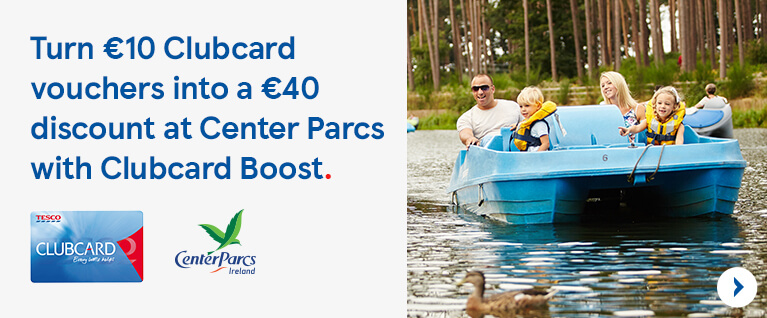 Turn your 10 euro clubcard vouchers into a 40 euro discount at Centre Parcs