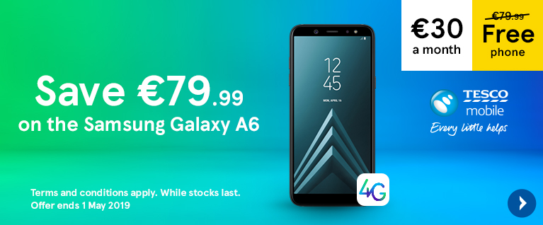 Free Samsung Galaxy A6 on a 30 euro a month contract, saving you 79 euros and 99 cents