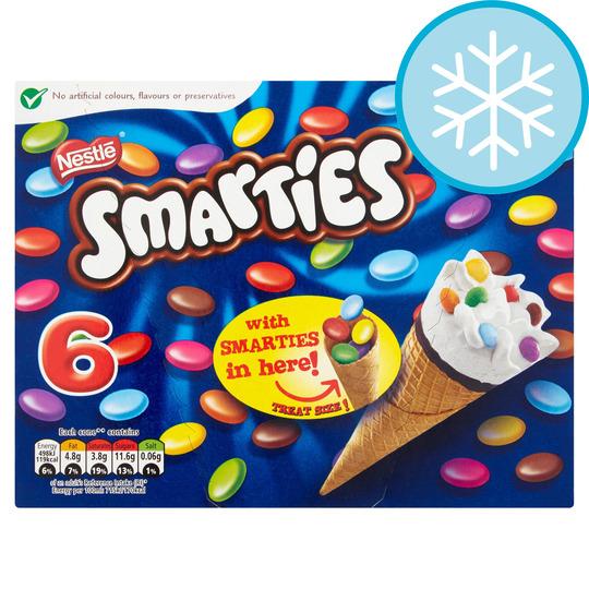 Nestle Smarties Ice Cream Cones 6 X 70Ml