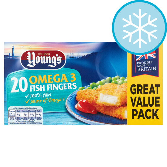 Youngs 20 Omega 3 Fish Fingers 500G