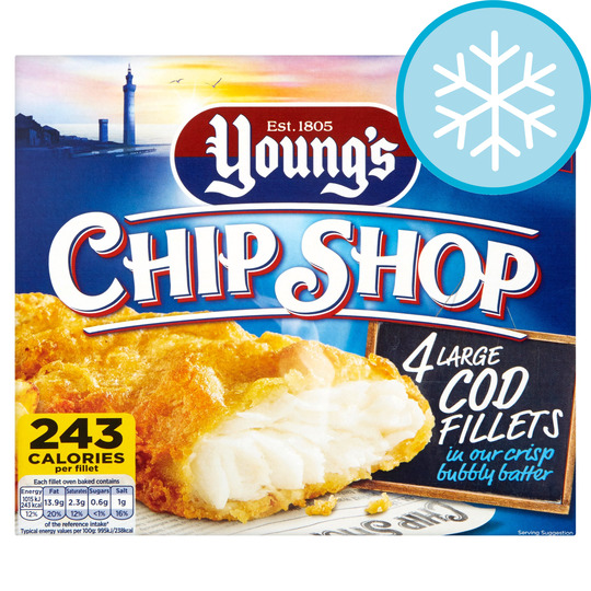 Youngs Chip Shop 4 Large Cod Fillets 480G