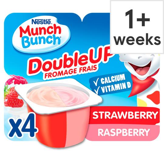 Munch Bunch Double Up Strawberry Raspberry Yogurt 4X85g