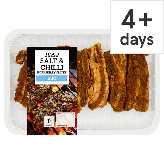 Tesco Salt & Chilli Pork Belly Slices 520G