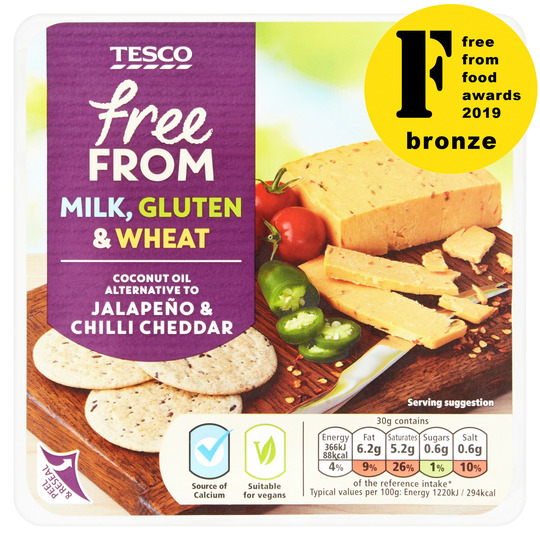 Tesco Free From Coconut Oil Alternative To Jalapeno & Chilli Cheddar 200G