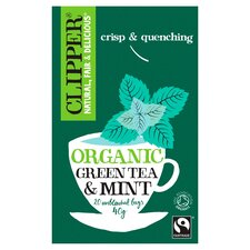Clipper Organic Fairtrade Green Tea Plus Mint 20S 40G