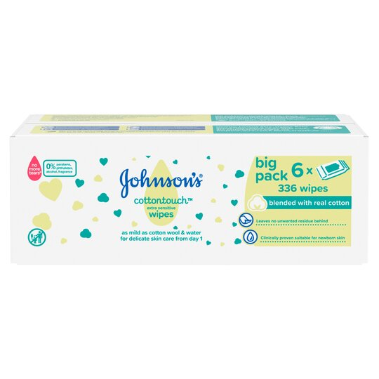 Johnson's Baby Cotton Touch Wipes 6X56 Pieces