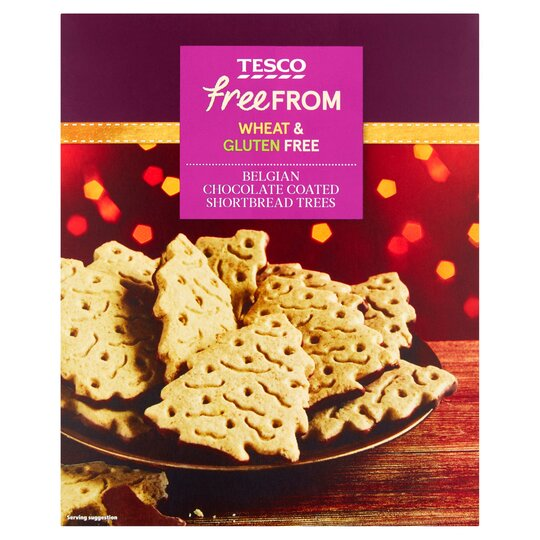 Tesco Free From Chocolate Shortbread Christmas Trees 200g