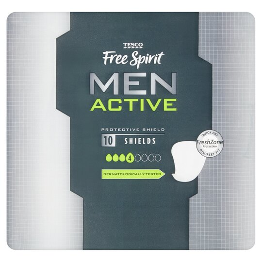 Tesco Free Spirit Men Active Shields 10 Pack