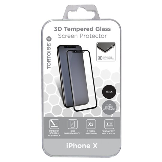 low priced 234ac f9584 Tortoise Iphone X 3D Glass Protector Black