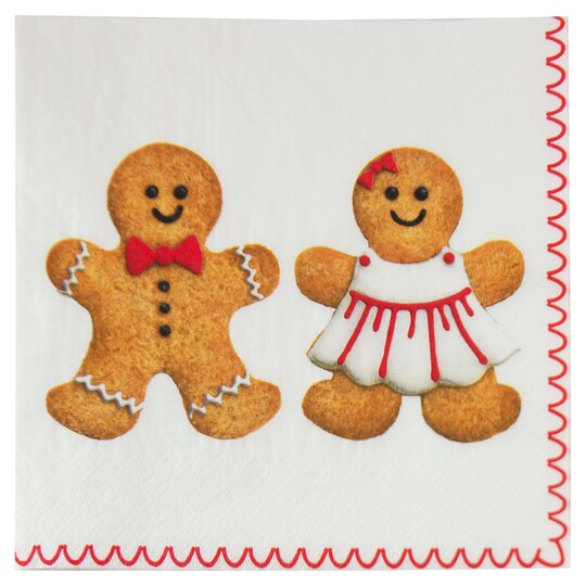 Tesco Gingerbread Men Christmas 33cm Napkin 20 Pack Tesco Groceries
