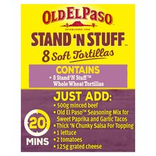 image 2 of Old El Paso Soft Stand 'N' Stuff Whole Wheat Tortillas 8Pk 193G