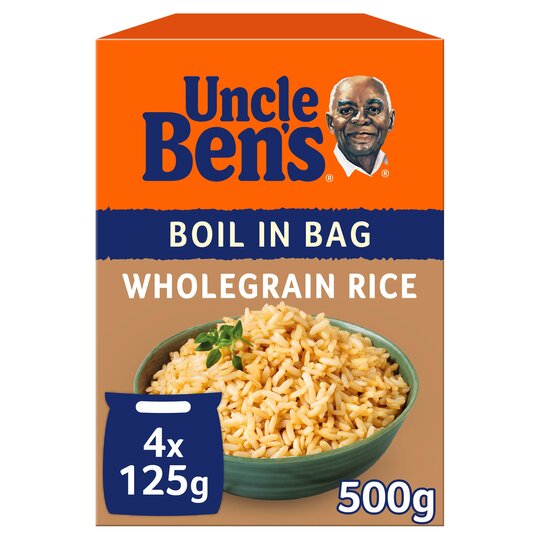 Uncle Bens Boil In Bag Wholegrain Rice 4X125g