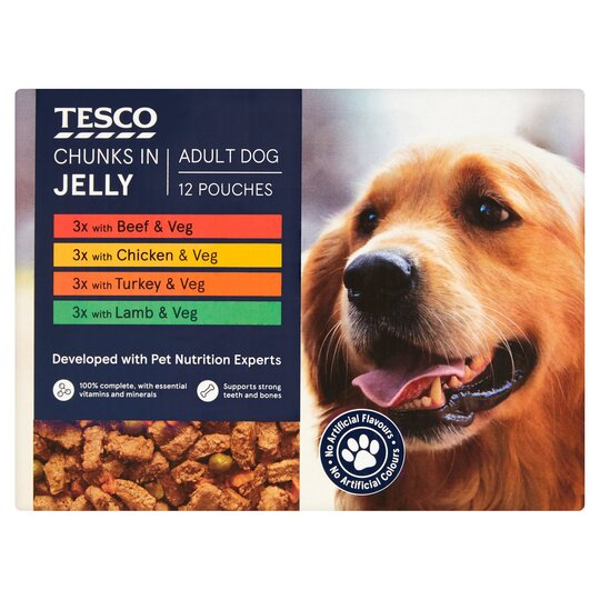 Tesco Dog Pouch Chunks In Jelly 12 X 100G