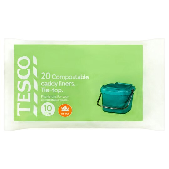 Tesco Tie Top Compostable Caddy Liners 20 Pack 10L