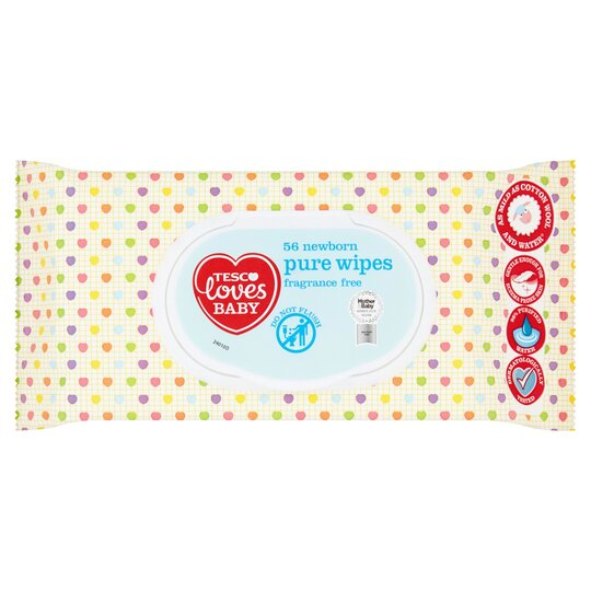 Tesco Loves Baby Pure Newborn Fragrance Free Wipes x64