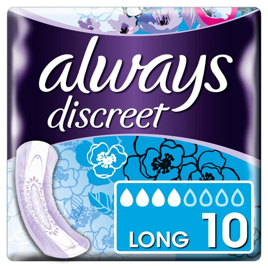 image 1 of Always Discreet Long Incontinence Pads 10 Pack