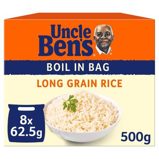 Uncle Bens Boil In Bag Long Grain Rice 8X62.5G