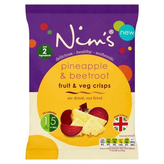 Nim's Air Dried Pineapple & Beetroot Crisps 22G