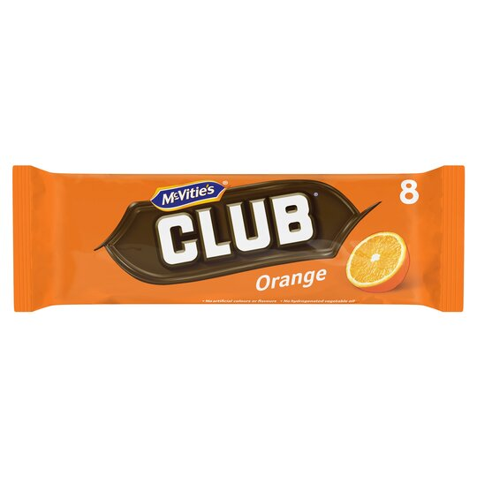 Mcvities Club Orange Chocolate Biscuit 8 Pack 176G