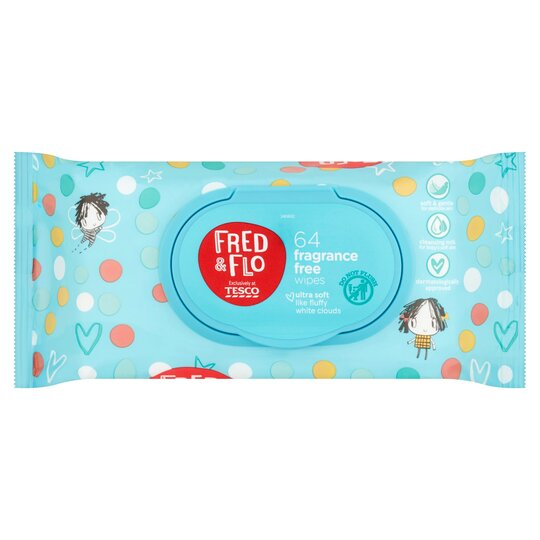 Fred & Flo 64 Fragrance Free Wipes