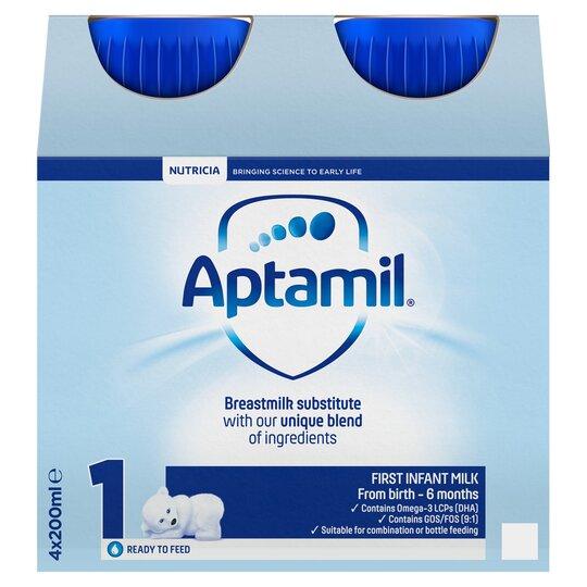 Aptamil 1 First Milk Multipack 4X200ml Ready To Feed Liquid