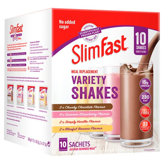 Slimfast Meal Replacement Variety Shakes 10 Sachets 368G