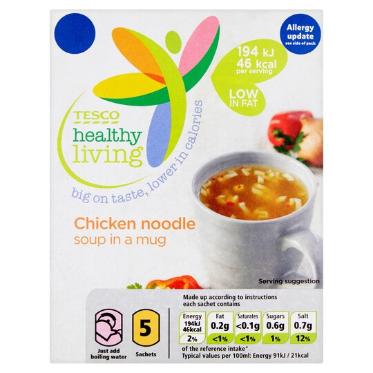 Tesco Healthy Living Chicken Noodle Soup In A 5Mug 5 Pack