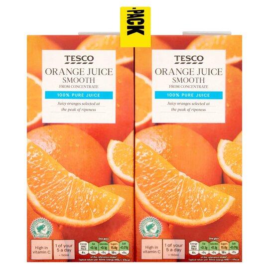Tesco Pure Orange Juice Smooth 4X1l