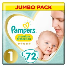 image 1 of Pampers New Baby Size 1 Jumbo Pack 72 Nappies