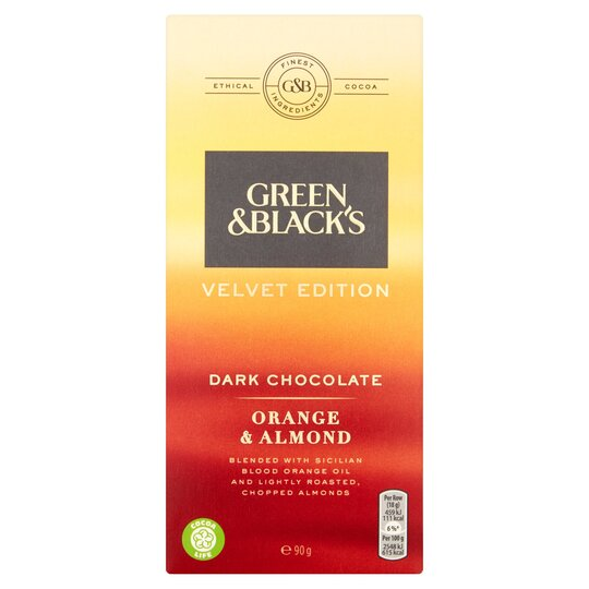 Green & Blacks Dark Orange & Almond Chocolate 90G