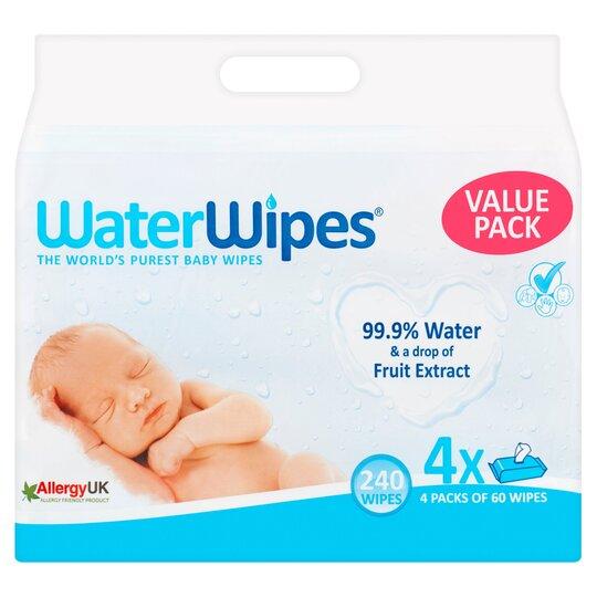 Waterwipes Sensitive Baby Wipes 4X60pk