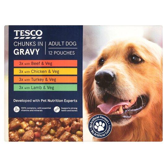 Tesco Dog Pouch Chunks In Gravy 12 X100g