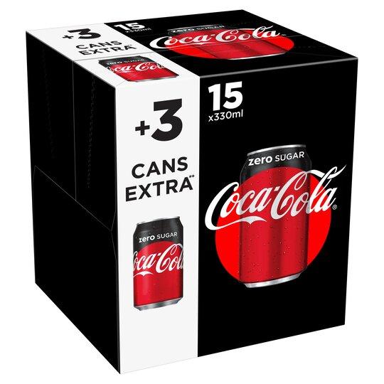 Coke Zero Can Pack 15+3 X 330Ml - Tesco Groceries