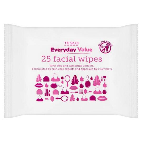 Tesco Everyday Value Facial Wipes 25'S
