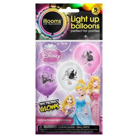 Disney Princess Light Up Balloons 5 Pack - Tesco Groceries