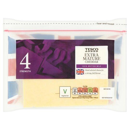 Tesco British Extra Mature Cheddar Cheese 460G