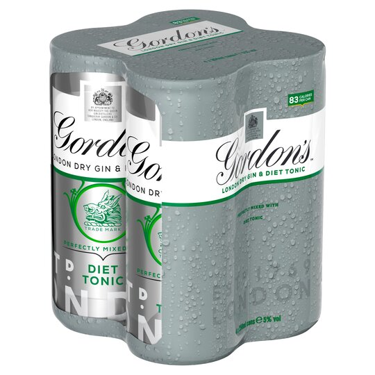 Gordon's Gin & Slimline Tonic 250Ml 4 Pack