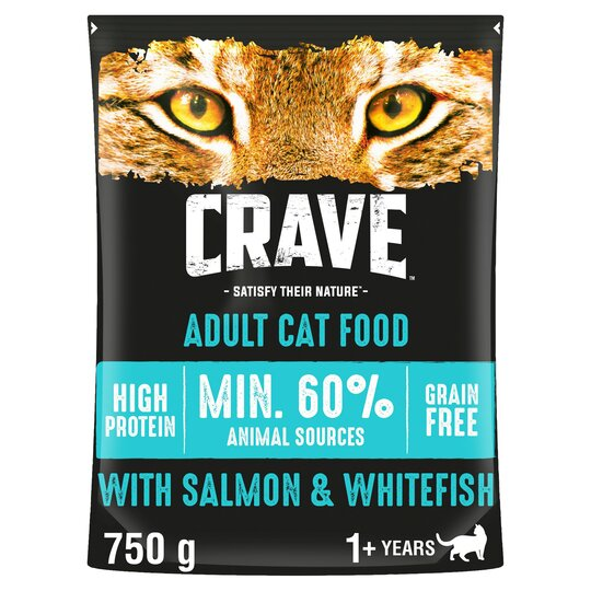 image 1 of Crave High Protein Dry Cat Food Salmon & Fish 750G