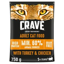 image 1 of Crave Adult Cat Food High Protein Turkey & Chicken 750G