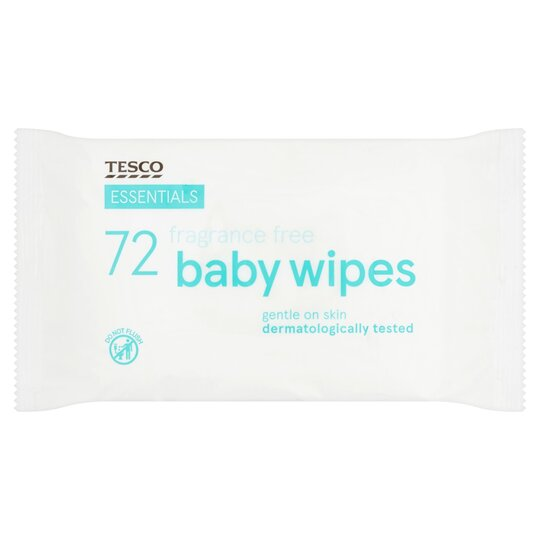 Tesco Essentials Fragrance Free Baby Wipes 72 Pack