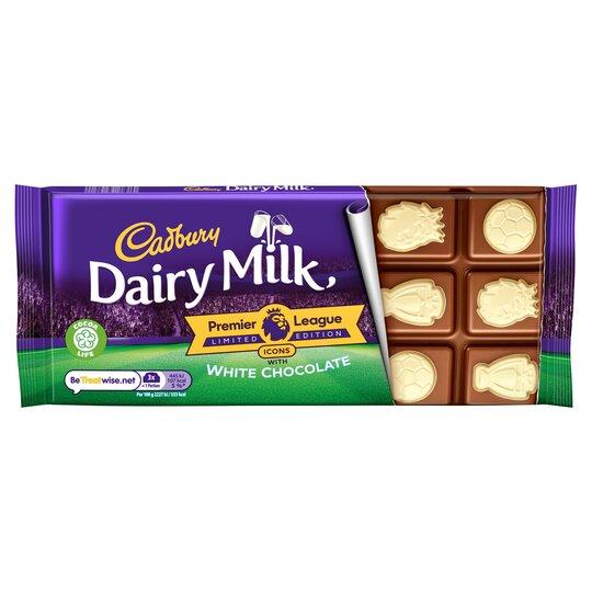 Cadbury Dairy Milk Premier League Icon With White Chocolate 100G