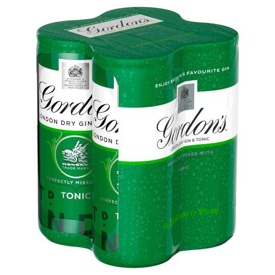 Gordon's With Schweppes Gin & Tonic 4X250ml