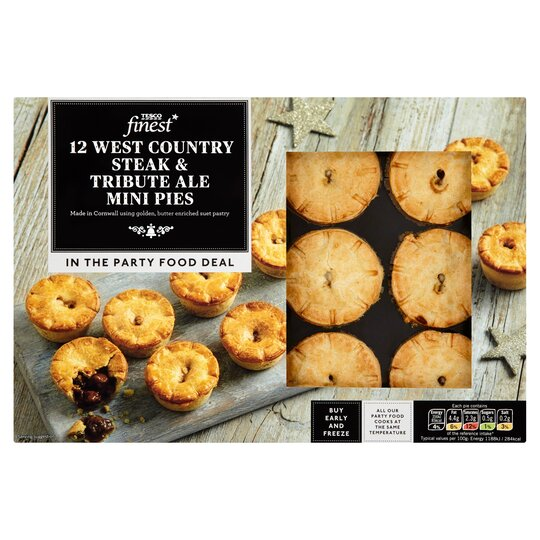 Tesco Finest Mini Steak & Ale Pies 360G - Tesco Groceries