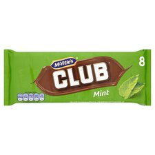 image 1 of Mcvitie's Club Mint Chocolate Biscuit 8 Pack 176G