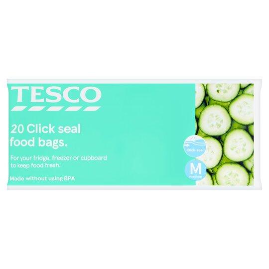 Tesco Resealable Food Storage Bags Medium 20'S