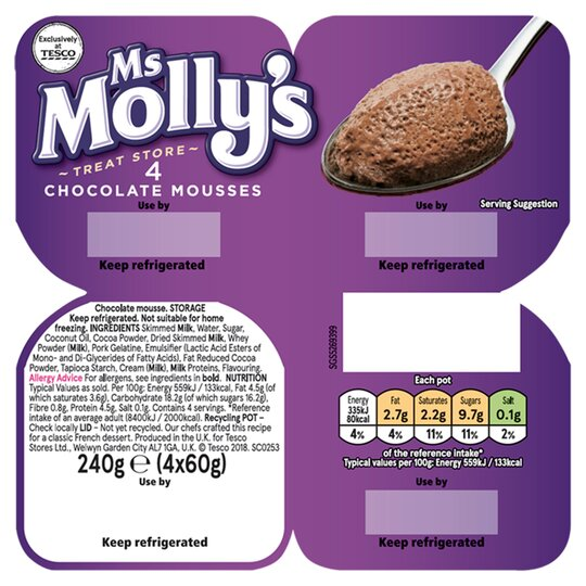 Ms Molly's Chocolate Mousse Dessert 4 Pack 240G