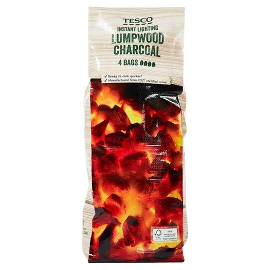 Tesco 4 X Bags Instant Light Lumpwood Charcoal