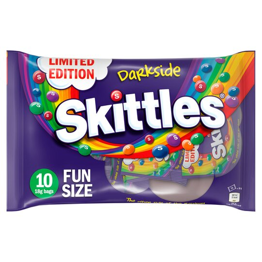 Skittles 10 Darkside Funsize Bags 180G - Tesco Groceries